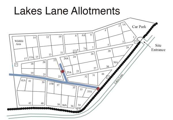 Lakes Lane Allotment Site Map