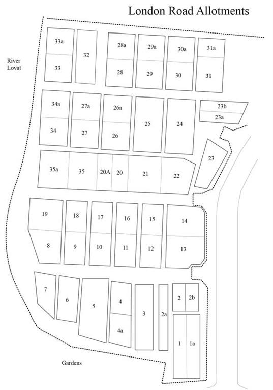 London Road Allotments Site Map