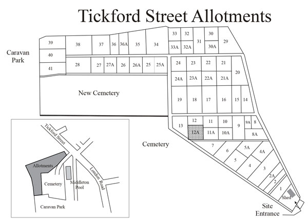 Tickford Street Allotment Map