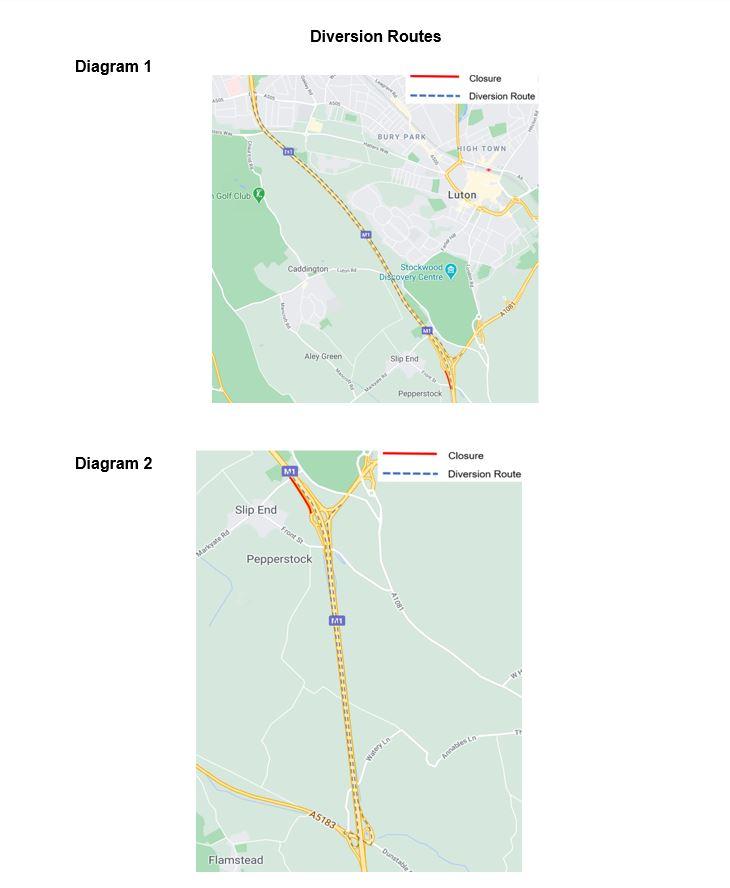 diversion route for M1 junction 10 closure